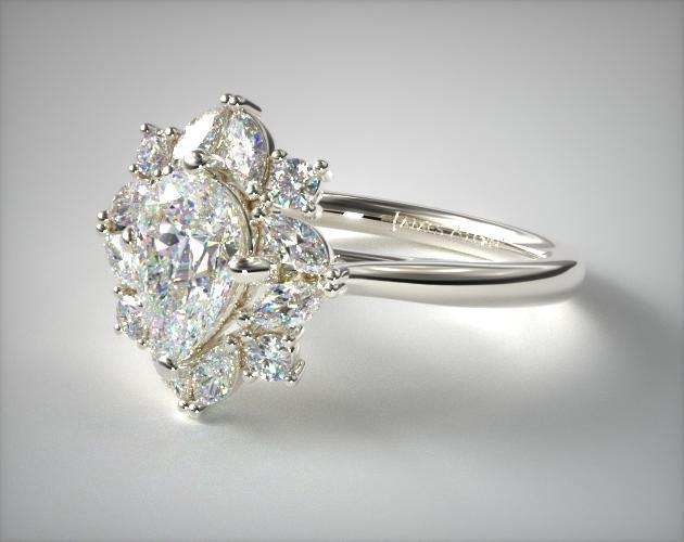 14K White Gold Marquise Cluster Halo Diamond Engagement Ring James Allen