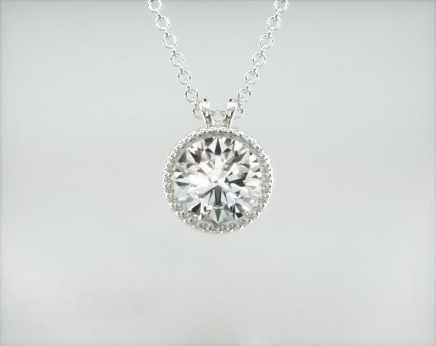 14K White Gold Milgrain Bezel Diamond Pendant James Allen