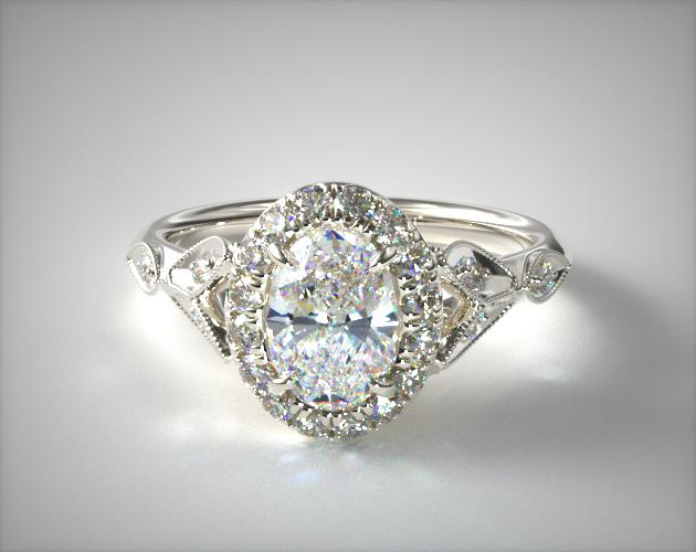 14K White Gold Navette Leaf Halo Engagement Ring James Allen