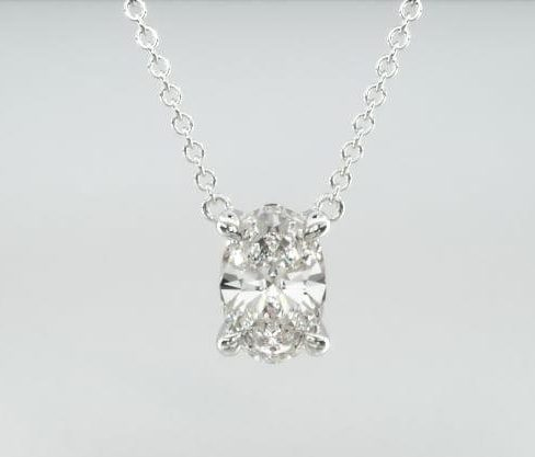 14K White Gold Oval Shape Diamond Solitaire Pendant James Allen