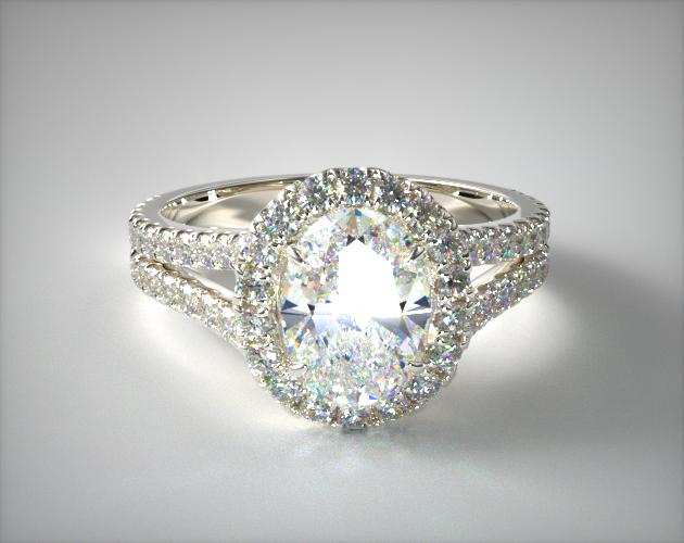 14K White Gold Round Split Band Diamond Halo Engagement Ring James Allen