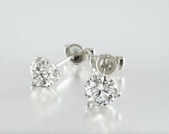 14K White Gold Three Prong Martini Round Brilliant Diamond Stud Earrings James Allen