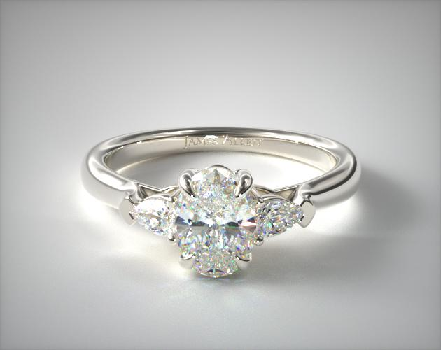14K White Gold Three Stone Pear Shaped Engagement Ring James Allen