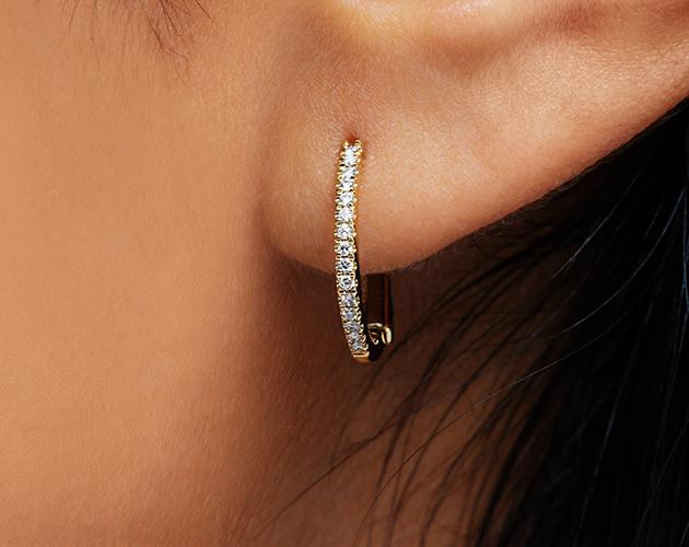 14K Yellow Gold Diamond Huggie Hoop Earrings James Allen