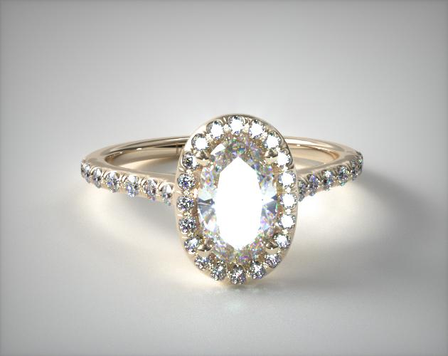14K Yellow Gold Pave Halo Diamond Engagement Ring James Allen