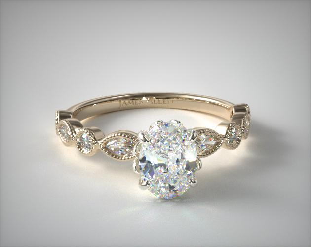 14K Yellow Gold Round and Marquise Shape Diamond Engagement Ring James Allen