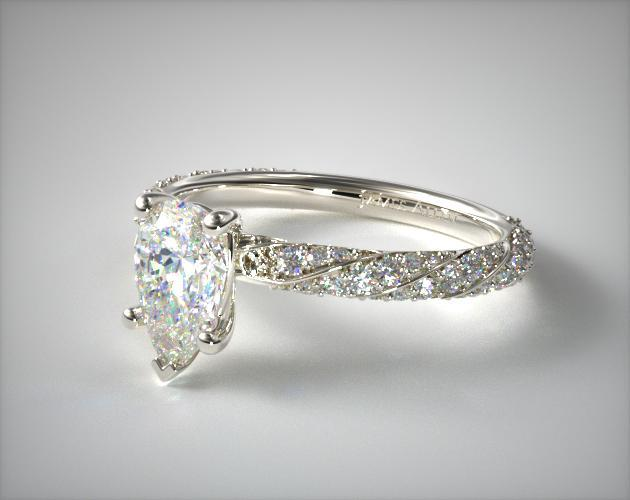 14K White Gold Twisted Pave Engagement Ring James Allen