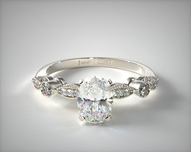 18K White Gold Antique Bezel and Pave Set Engagement Ring James Allen