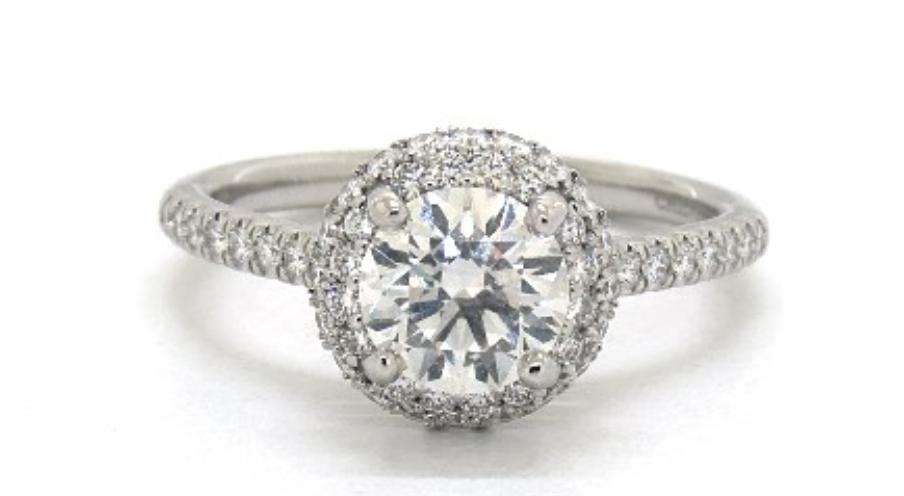18K White Gold Falling Edge Pave Diamond Engagement Ring James Allen