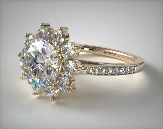 18K Yellow Gold Cathedral Star Engagement Ring James Allen