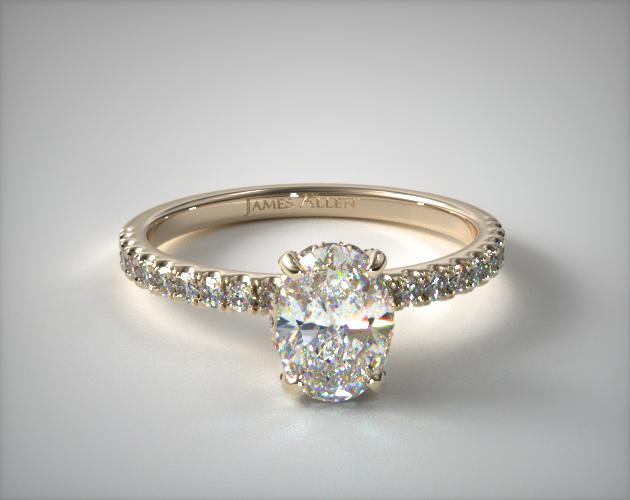 18K Yellow Gold Petite Pave Crown Diamond Engagement Ring James Allen