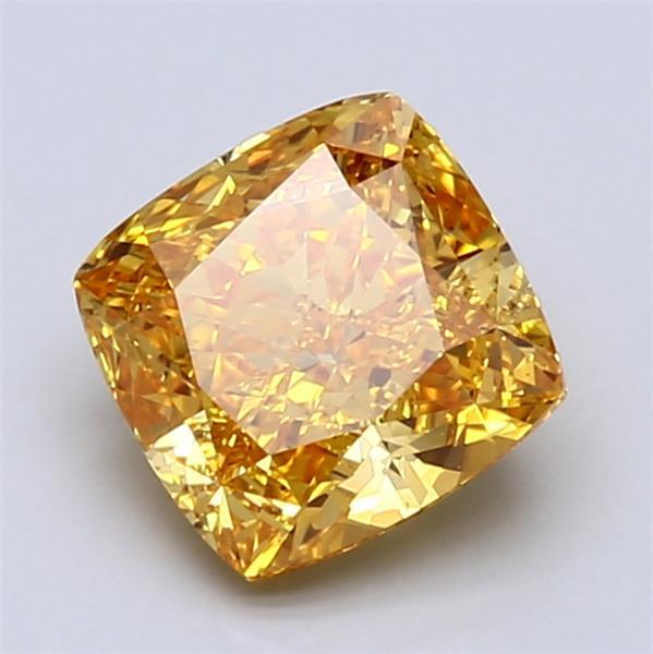 360 Video - Actual diamond magnified NEED HELP? 1-866-441-9066 Email Us 2.01-Carat Vivid Yellow-orange Cushion Cut Diamond Blue Nile