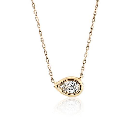 Bezel Set Pear-Shaped Diamond Pendant in 14k Yellow Gold Blue Nile