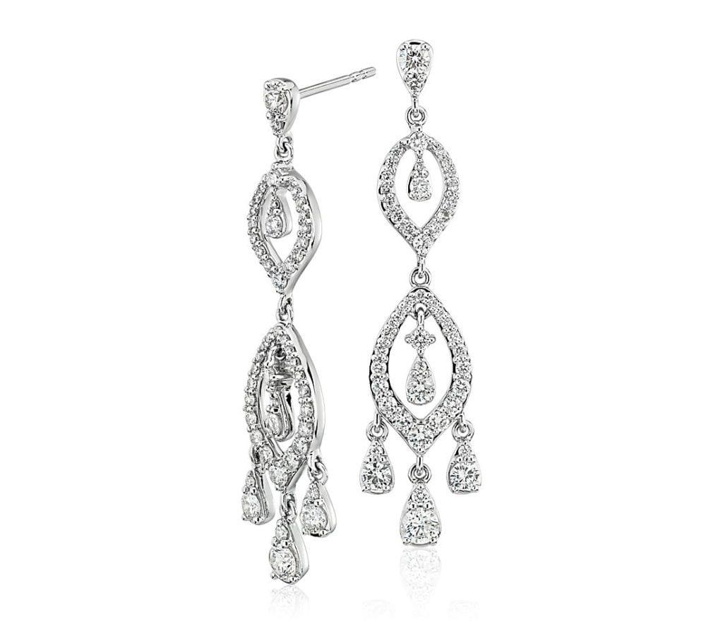Diamond Chandelier Drop Earrings in 14k White Gold Blue Nile