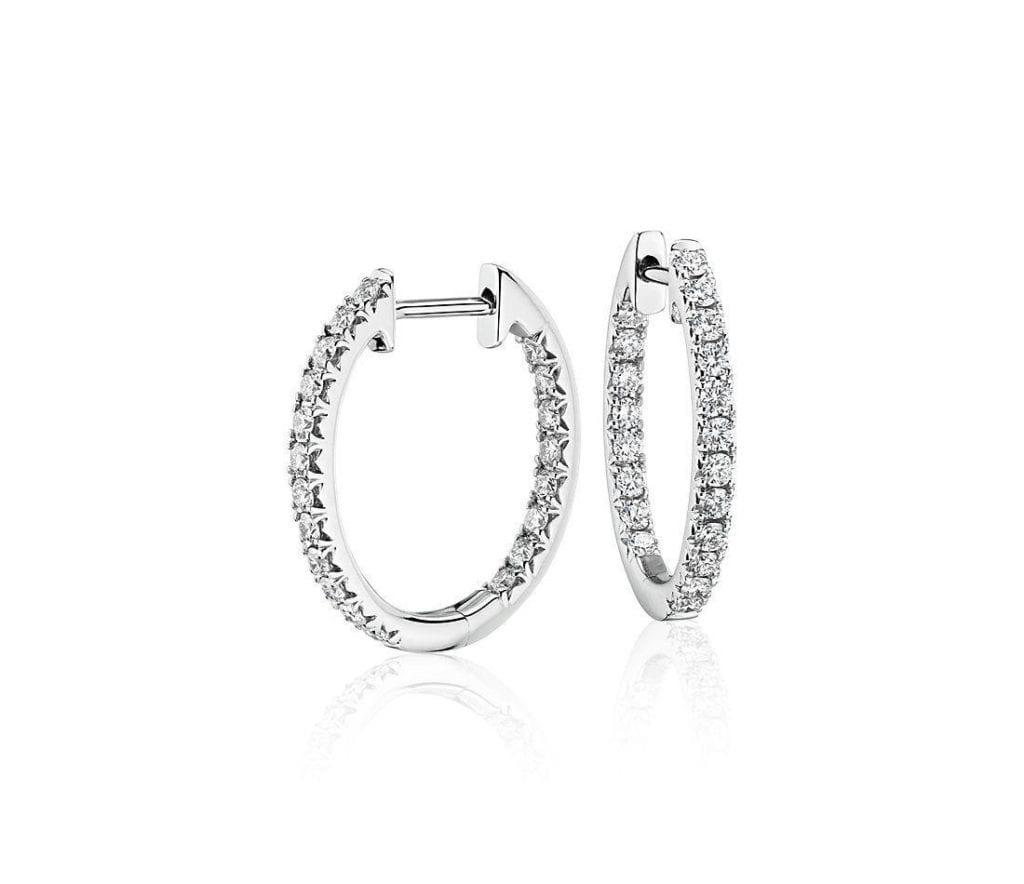 Diamond Pavé Hoop Earrings in 14k White Gold  Blue Nile