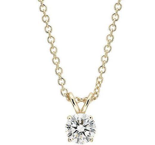 Diamond Solitaire Pendant in 14k Yellow Gold Blue Nile