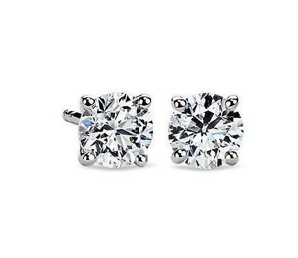 Diamond Stud Earrings in 14k White Gold Blue Nile