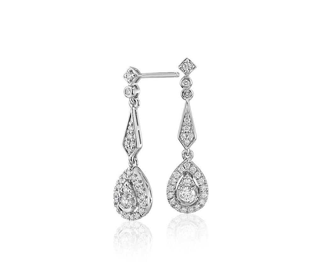 Diamond Vintage-Inspired Teardrop Earrings in 14k White Gold Blue Nile