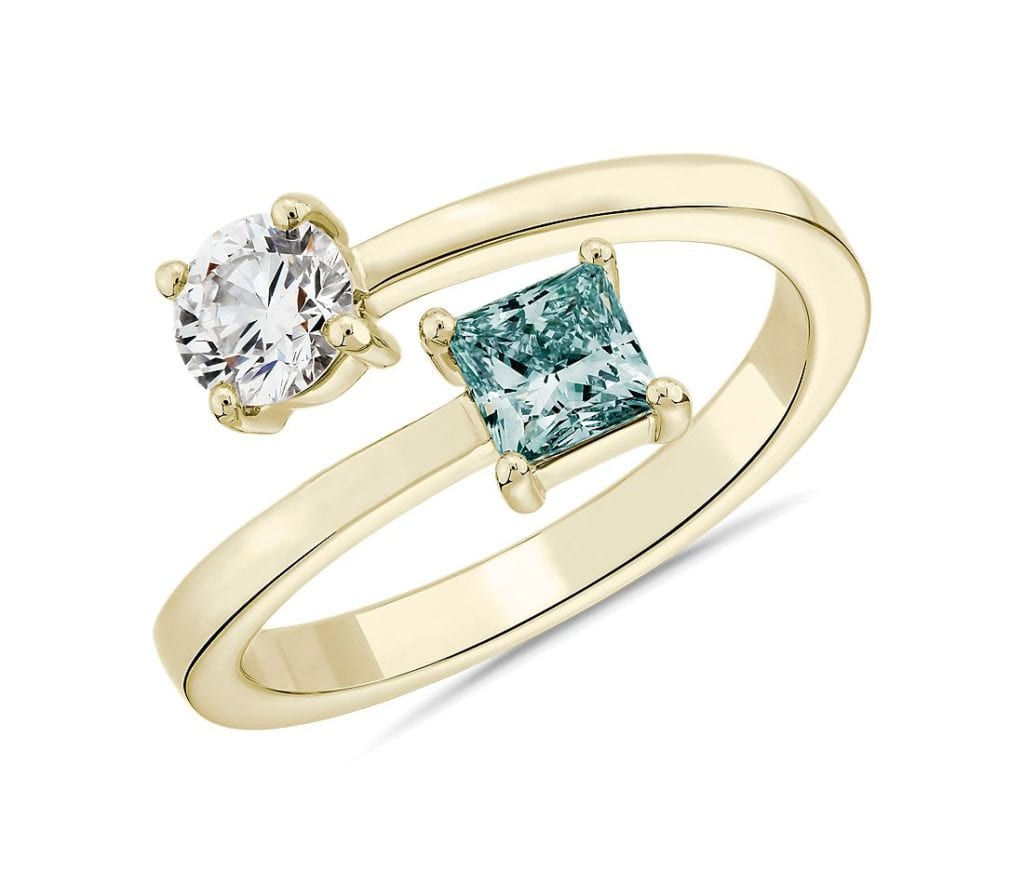 LIGHTBOX Lab-Grown Blue Diamond Round & Princess Bypass Ring in 14k Yellow Gold Blue Nile