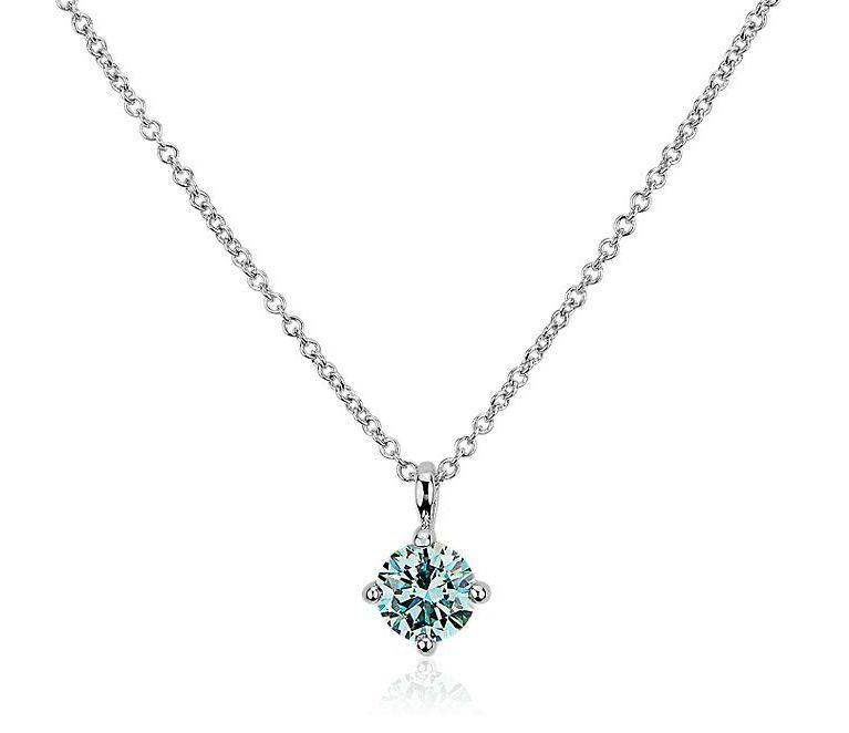 LIGHTBOX Lab-Grown Blue Diamond Round Solitaire Pendant Necklace Blue Nile