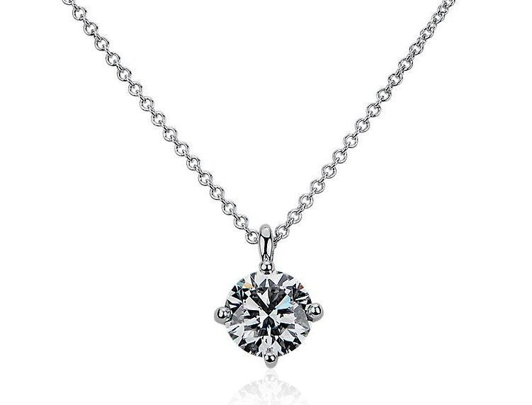 LIGHTBOX Lab-Grown Diamond Round Solitaire Pendant Necklace in 14k White Gold Blue Nile