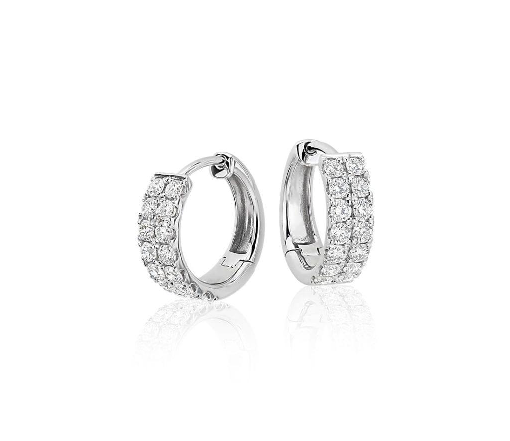 Petite Diamond Huggie Hoop Earrings in 14k White Gold Blue Nile