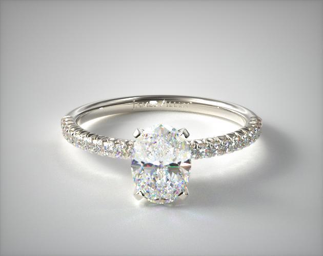 Platinum Petite Pave Engagement Ring Oval Cut James Allen