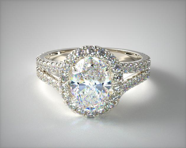 Platinum Round Split Band Diamond Halo Engagement Ring James Allen