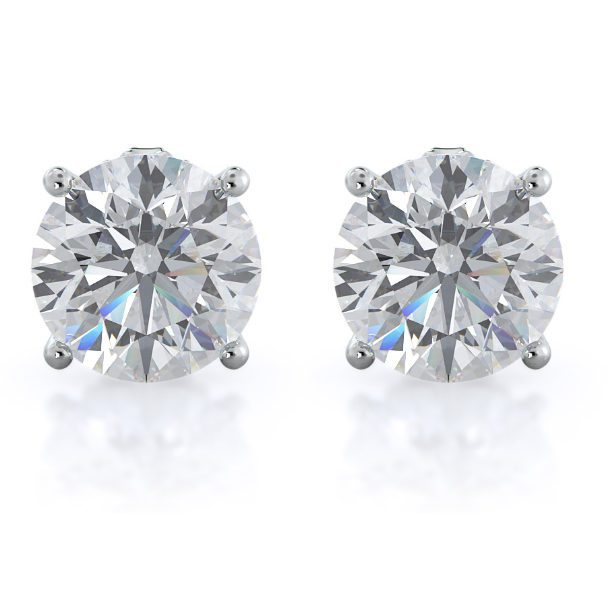 Round Natural Diamond Stud Earrings With Clarity
