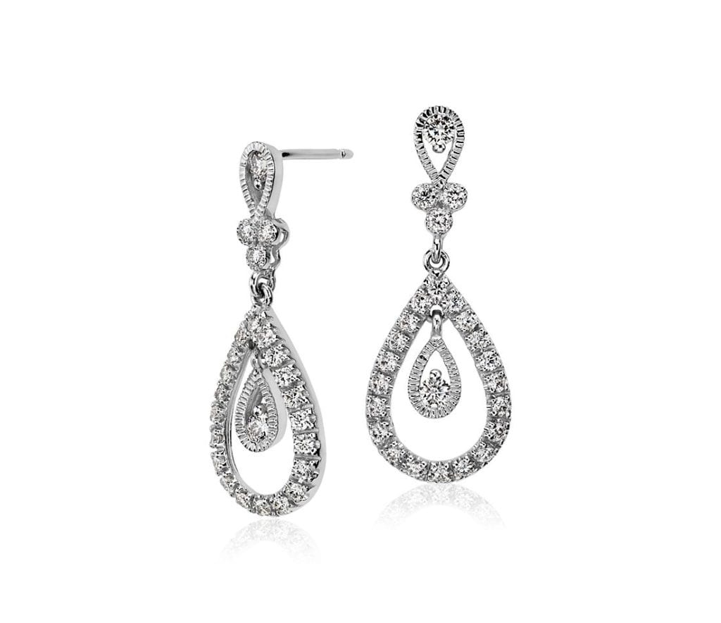 Teardrop Diamond Dangle Earrings in 18k White Gold Blue Nile