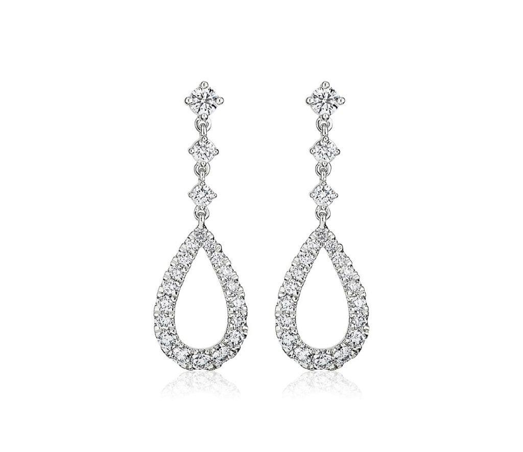 Teardrop Shape Graduated Diamond Drop Earrings in 14k White Gold Blue Nile