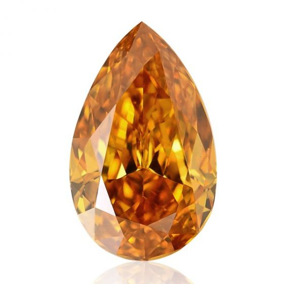 0.590 SI1 Fancy color orange pear shaped diamond by Brian Gavin