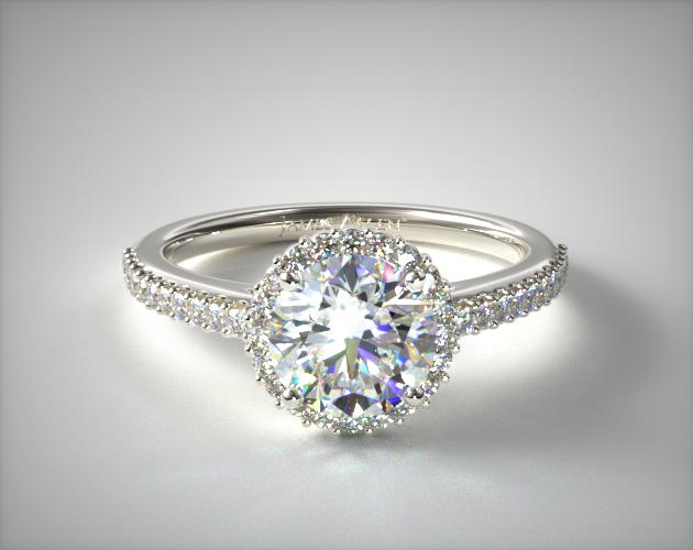 1.00 Carat G-VVS1 Excellent Cut Round Diamond Petite Diamond Halo Engagement Ring James Allen
