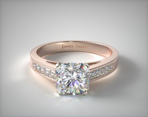 14K Rose Gold 0.25ct Channel Set Princess Shaped Diamond Engagement Ring James Allen