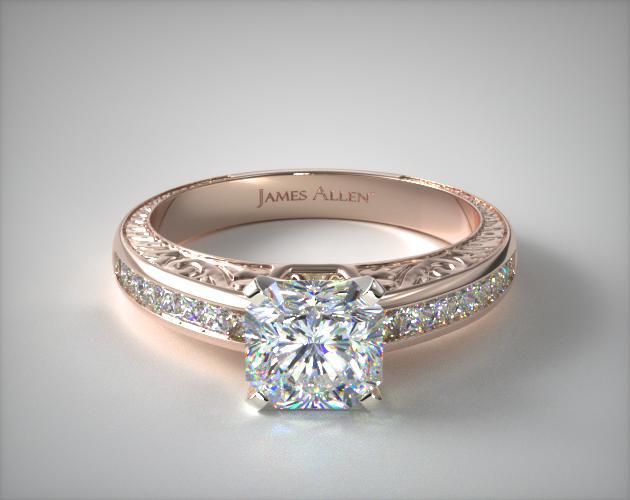 14K Rose Gold Engraved Princess Shaped Diamond Engagement Ring James Allen