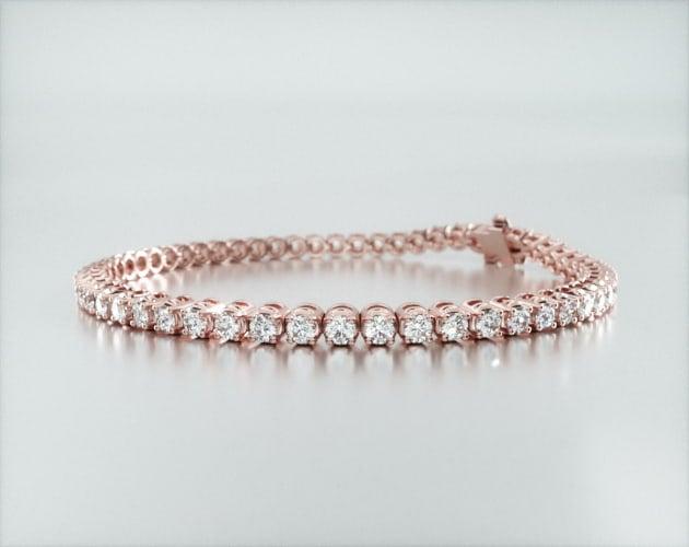 14K Rose Gold Four Prong Diamond Tennis Bracelet (3 CTW - H-I SI1-SI2) James Allen