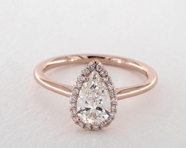 14K Rose Gold Pave Halo Diamond Engagement Ring (Pear Center) James Allen