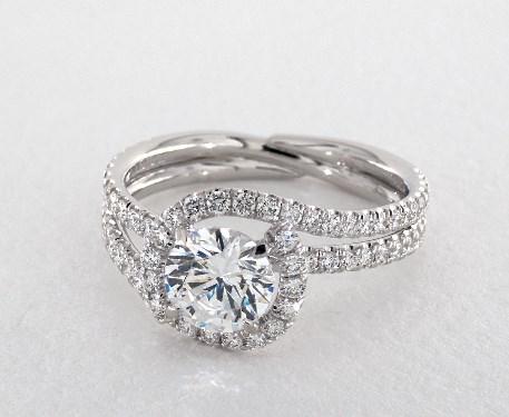 14K White Gold Abbraccio Swirl Engagement Ring Style# AE144 By Danhov James Allen