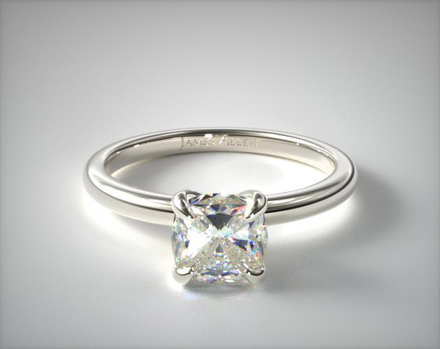 14K White Gold Claw Prong Solitaire Engagement Ring (Flush Fit) James Allen
