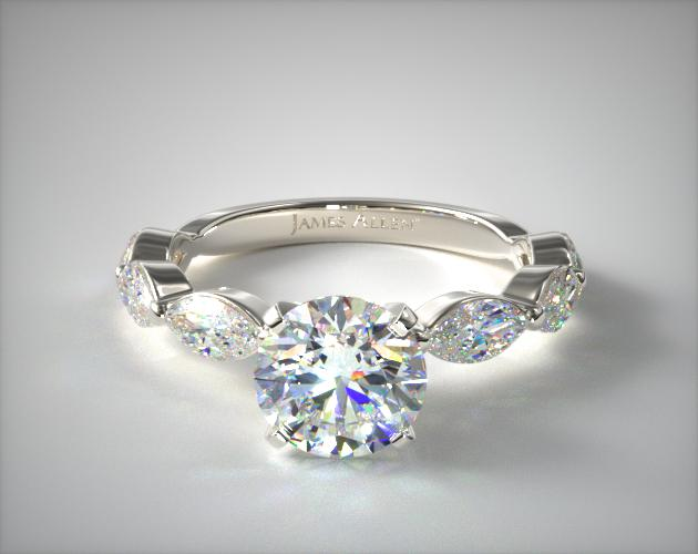 14K White Gold East-West Marquise Diamond Engagement Ring James Allen