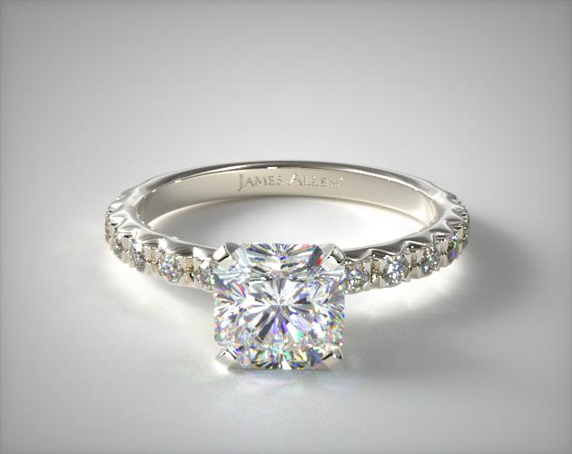 14K White Gold French Cut Pave Diamond Engagement Ring James Allen