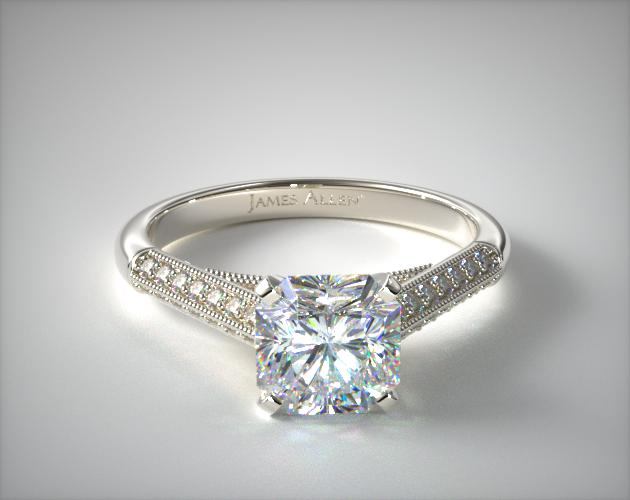 14K White Gold Pave Knife Edge Cathedral Diamond Engagement Ring James Allen