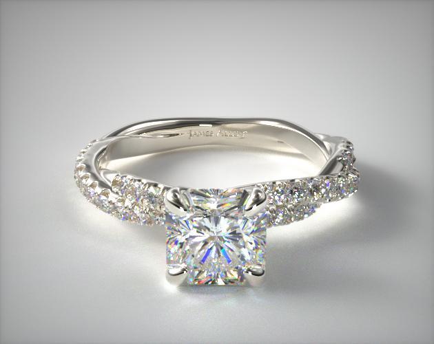 14K White Gold Pave Twist Diamond Engagement Ring James Allen