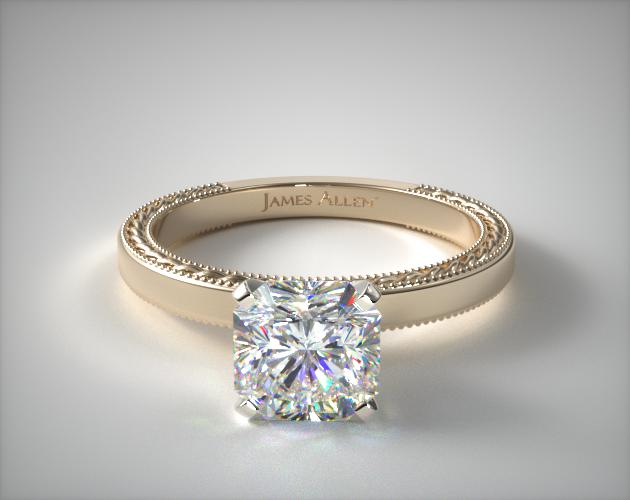 14K Yellow Gold Etched Profile Solitaire Engagement Ring James Allen