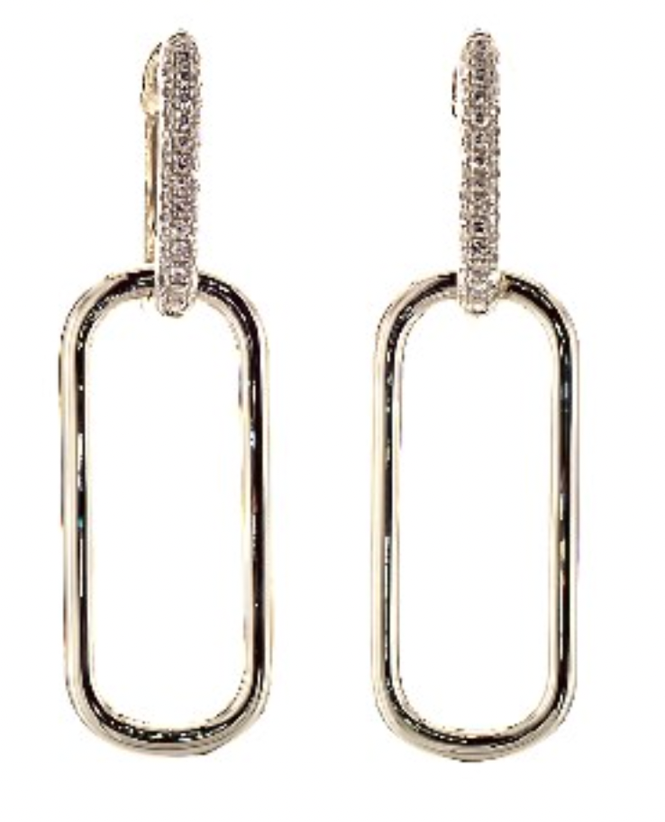 14K Yellow Gold Link Pave Diamond Drop Earrings James Allen