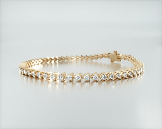 14K Yellow Gold Three Prong Diamond Tennis Bracelet (2 CTW - H-I SI1-SI2) James Allen