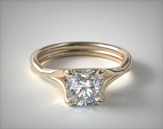 14K Yellow Gold Twisted Shank Contemporary Solitaire James Allen