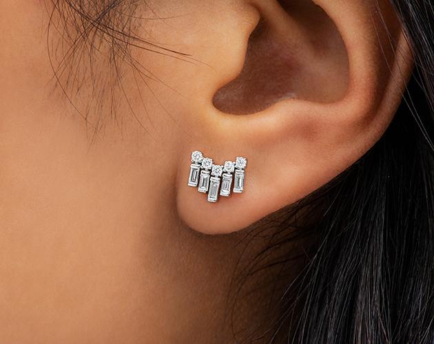 14K White Gold Round And Baguette Chevron Diamond Earrings James Allen