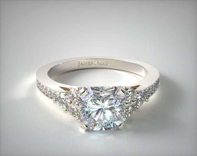 18K White Gold Pave Trio Engagement Ring James Allen