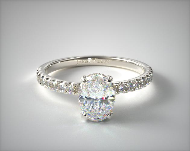18K White Gold Petite Pave Crown Diamond Engagement Ring James Allen